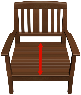 Measure SEAT from front to where back begins